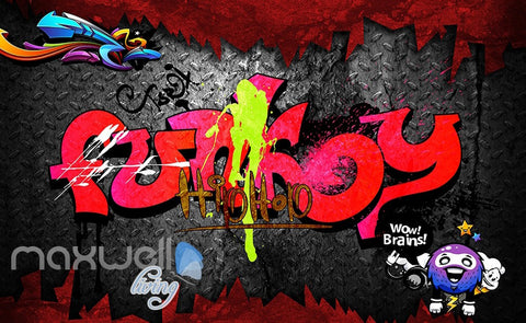 Image of 3D Graffiti Red Words Hiphop Wall Murals Wallpaper Wall Art Decals Decor IDCWP-TY-000113