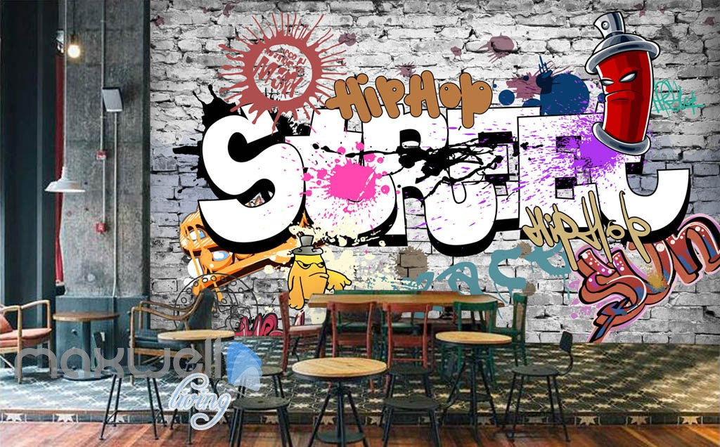 3D Graffiti Street Hiphop Brick Wall Murals Wallpaper Wall Art Decals Decor IDCWP-TY-000116