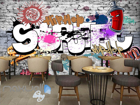 Image of 3D Graffiti Street Hiphop Brick Wall Murals Wallpaper Wall Art Decals Decor IDCWP-TY-000116