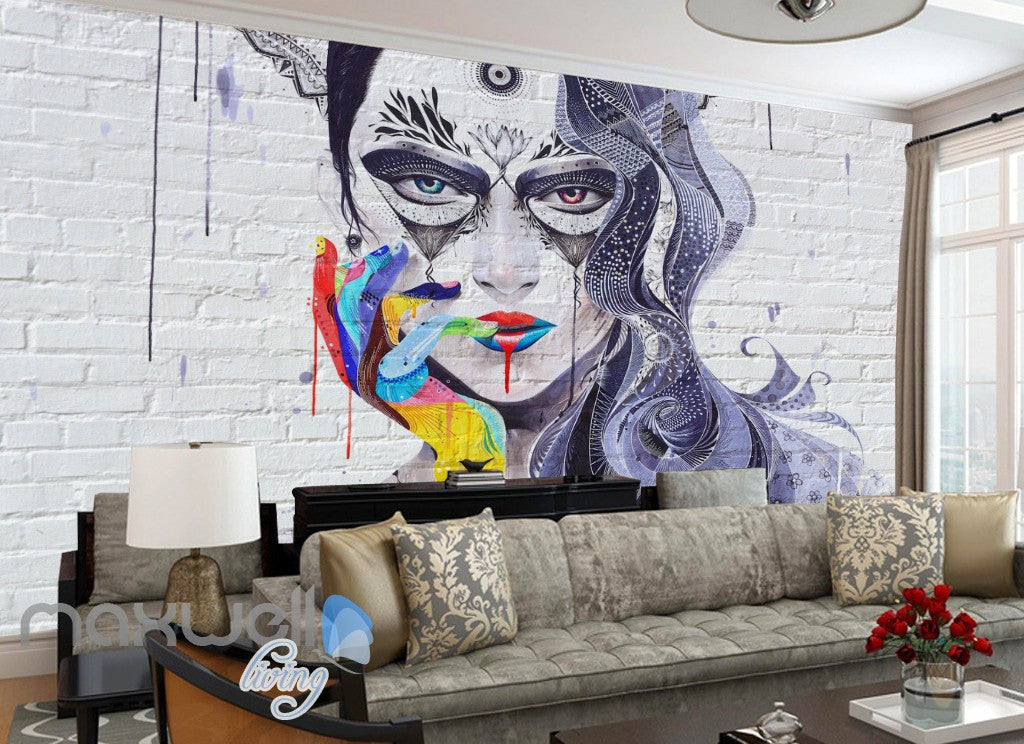3D Graffiti Punk Queen Brick Wall Murals Wallpaper Wall Art Decals Decor IDCWP-TY-000119
