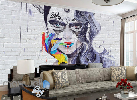 Image of 3D Graffiti Punk Queen Brick Wall Murals Wallpaper Wall Art Decals Decor IDCWP-TY-000119