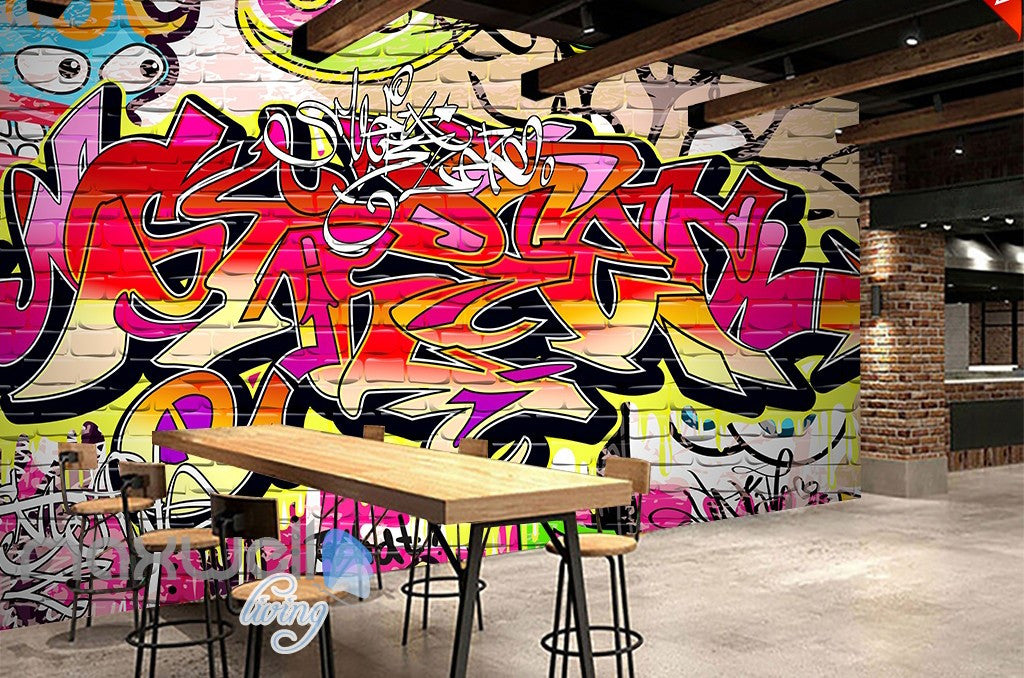 3d graffiti abstract colorful words wall murals wallpaper wall art decals decor idcwp ty
