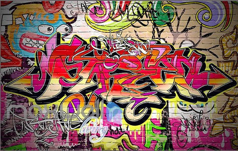 Image of 3D Graffiti Abstract Colorful Words Wall Murals Wallpaper Wall Art Decals Decor IDCWP-TY-000124
