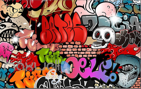 Image of 3D Graffiti Skull Letters Wall Murals Wallpaper Wall Art Decals Decor IDCWP-TY-000125