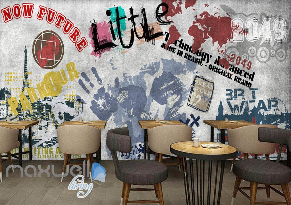 3D Graffiti Paris Tower Words Wall Murals Wallpaper Wall Art Decals Decor IDCWP-TY-000126