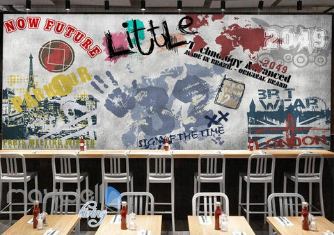 Image of 3D Graffiti Paris Tower Words Wall Murals Wallpaper Wall Art Decals Decor IDCWP-TY-000126