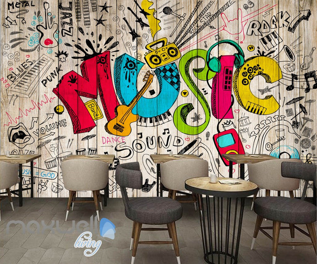 3D Graffiti Music Color Board Wall Murals Wallpaper Wall Art Decals Decor  IDCWP TY