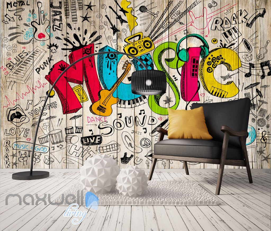 3D Graffiti Music Color Board Wall Murals Wallpaper Wall Art Decals Decor IDCWP-TY-000127