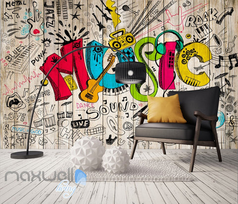 Image of 3D Graffiti Music Color Board Wall Murals Wallpaper Wall Art Decals Decor IDCWP-TY-000127