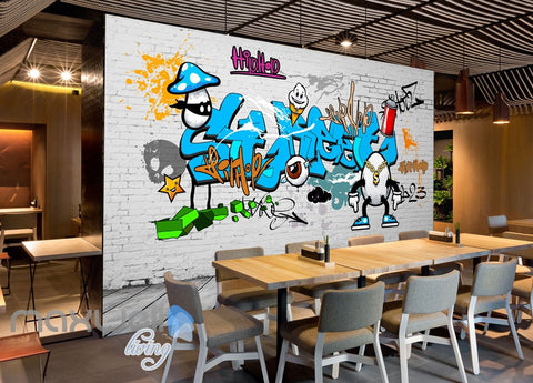 3D Graffiti Blue Letters Egg Dollar Wall Murals Wallpaper Wall Art Decals Decor IDCWP-TY-000129