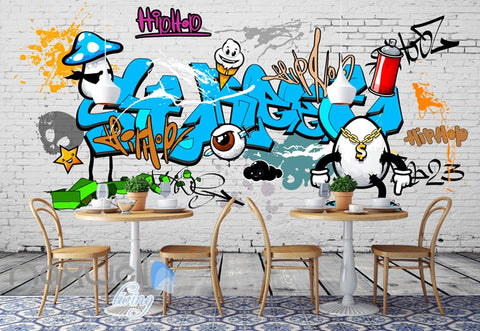Image of 3D Graffiti Blue Letters Egg Dollar Wall Murals Wallpaper Wall Art Decals Decor IDCWP-TY-000129