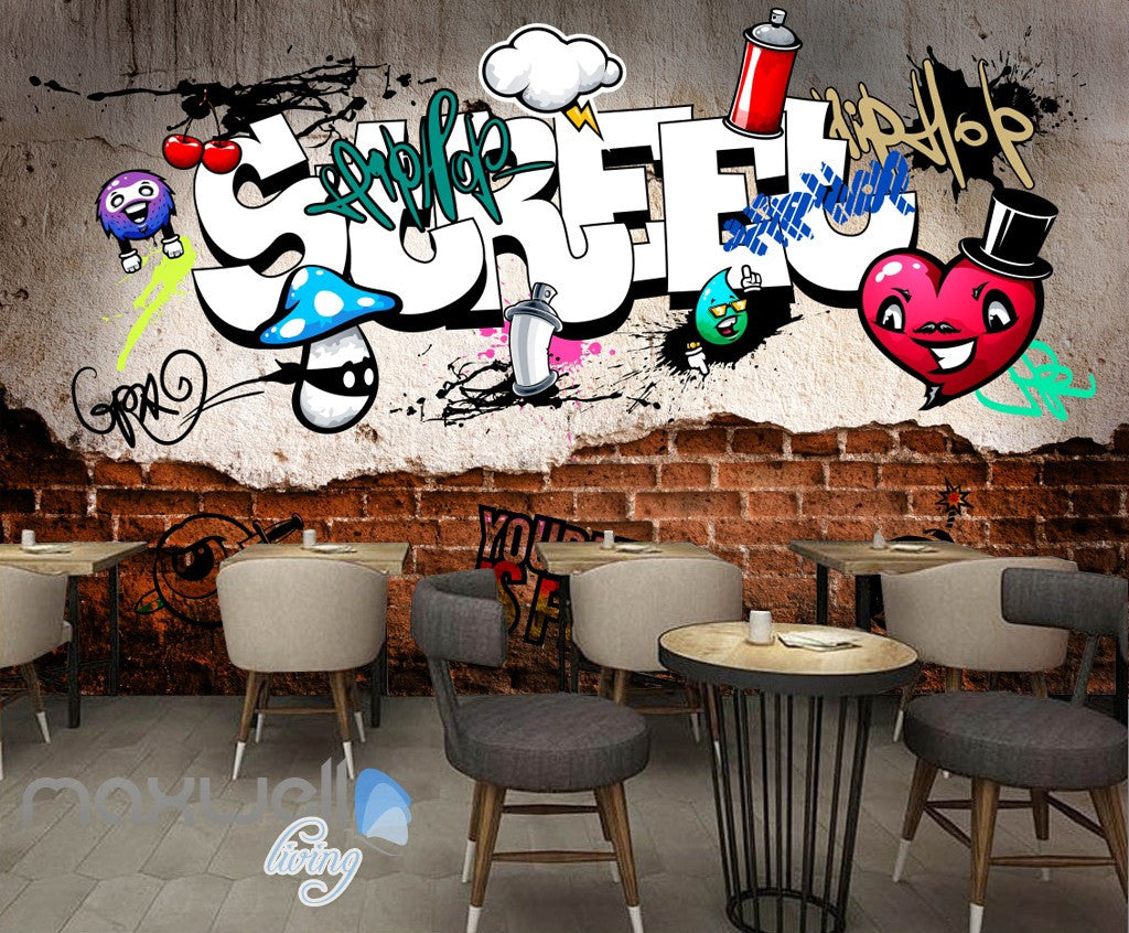 3D Graffiti Street Heart Cherry Wall Murals Wallpaper Wall Art Decals Decor IDCWP-TY-000130