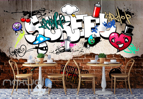 Image of 3D Graffiti Street Heart Cherry Wall Murals Wallpaper Wall Art Decals Decor IDCWP-TY-000130