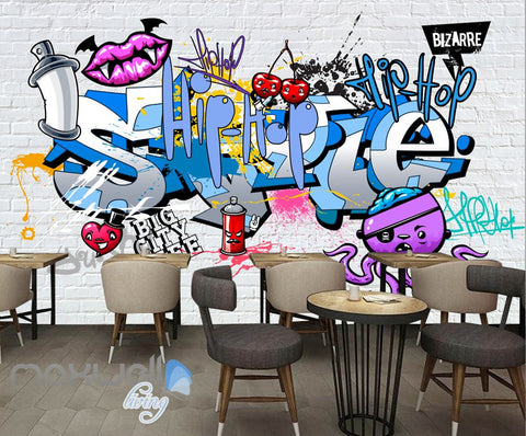 3D Graffiti Devil Lips Hiphop Wall Murals Wallpaper Wall Art Decals Decor IDCWP-TY-000131