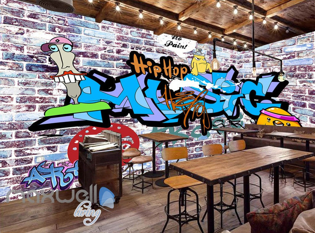 3D Graffiti Letters Bricks Wall Murals Wallpaper Wall Art Decals Decor IDCWP-TY-000133