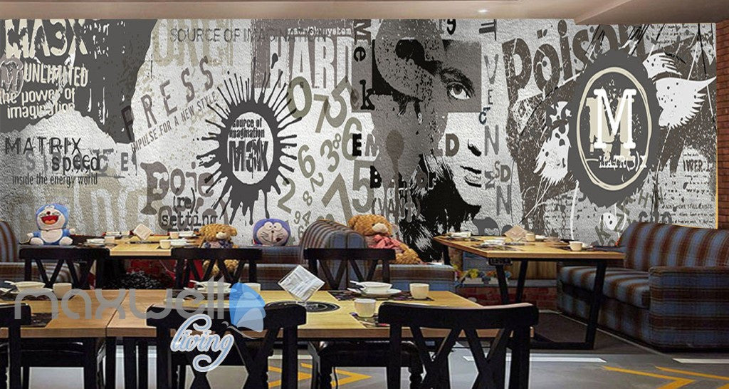 3d retro vintage graffiti wall murals wallpaper wall art for Antique wallpaper mural