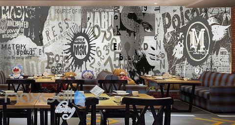Image of 3D Retro Vintage Graffiti Wall Murals Wallpaper Wall Art Decals Decor IDCWP-TY-000134