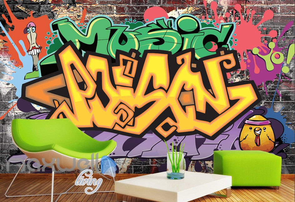 3D Graffiti Letters Music Art Wall Murals Wallpaper Wall Paper Decals Decor IDCWP-TY-000135