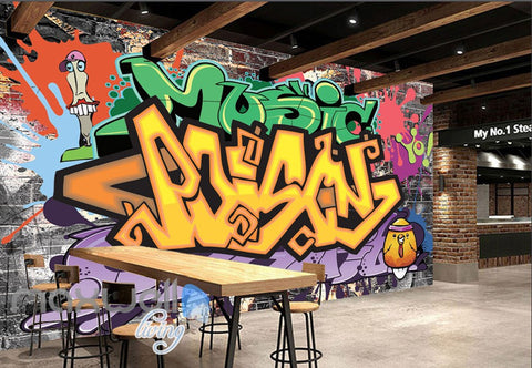 Image of 3D Graffiti Letters Music Art Wall Murals Wallpaper Wall Paper Decals Decor IDCWP-TY-000135