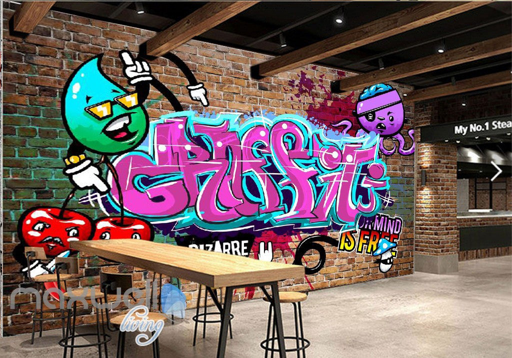 3D Graffiti Pink Letters Octopus Wall Murals Wallpaper Wall Art Decals Decor IDCWP-TY-000138