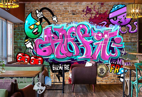Image of 3D Graffiti Pink Letters Octopus Wall Murals Wallpaper Wall Art Decals Decor IDCWP-TY-000138
