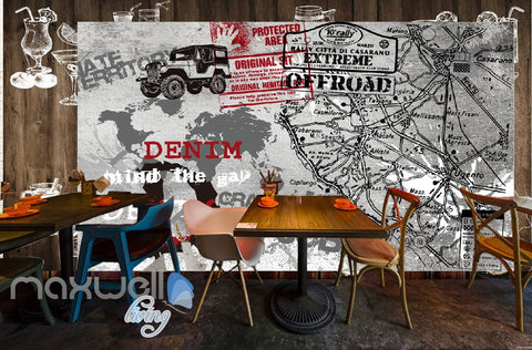 Image of 3D Retro Graffiti Denim Offroad Stamp Wall Murals Wallpaper Wall Art Decals Decor IDCWP-TY-000140