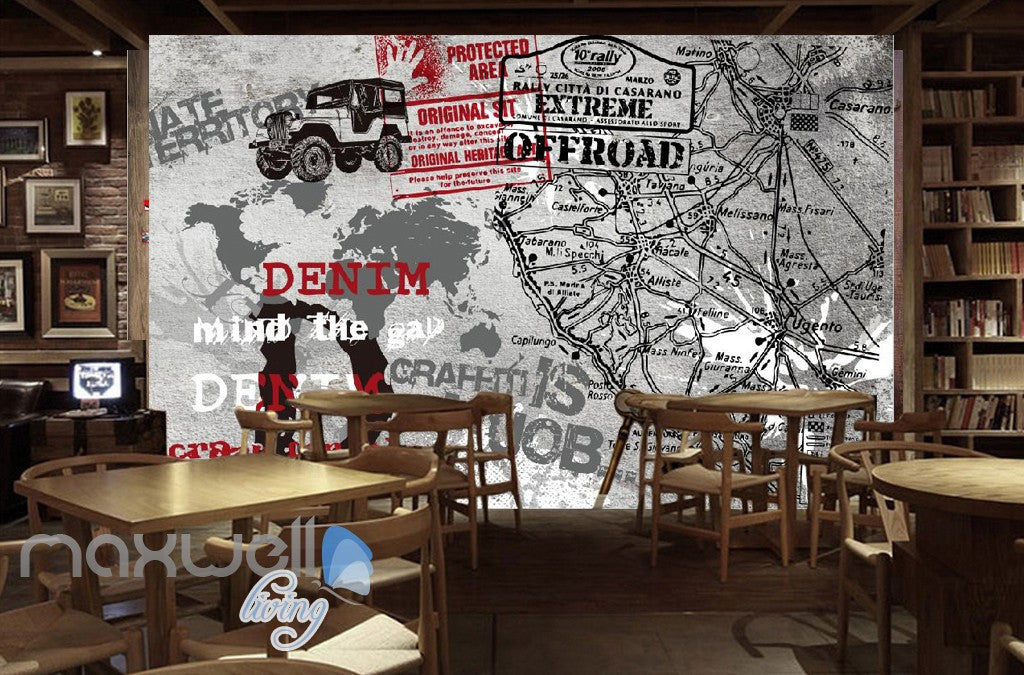 3D Retro Graffiti Denim Offroad Stamp Wall Murals Wallpaper Wall Art Decals Decor IDCWP-TY-000140