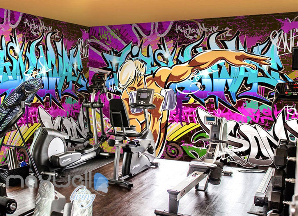 3D Graffiti Letters Gym Wall Murals Wallpaper Wall Art Decals Decor IDCWP-TY-000142