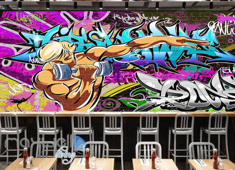 Image of 3D Graffiti Letters Gym Wall Murals Wallpaper Wall Art Decals Decor IDCWP-TY-000142