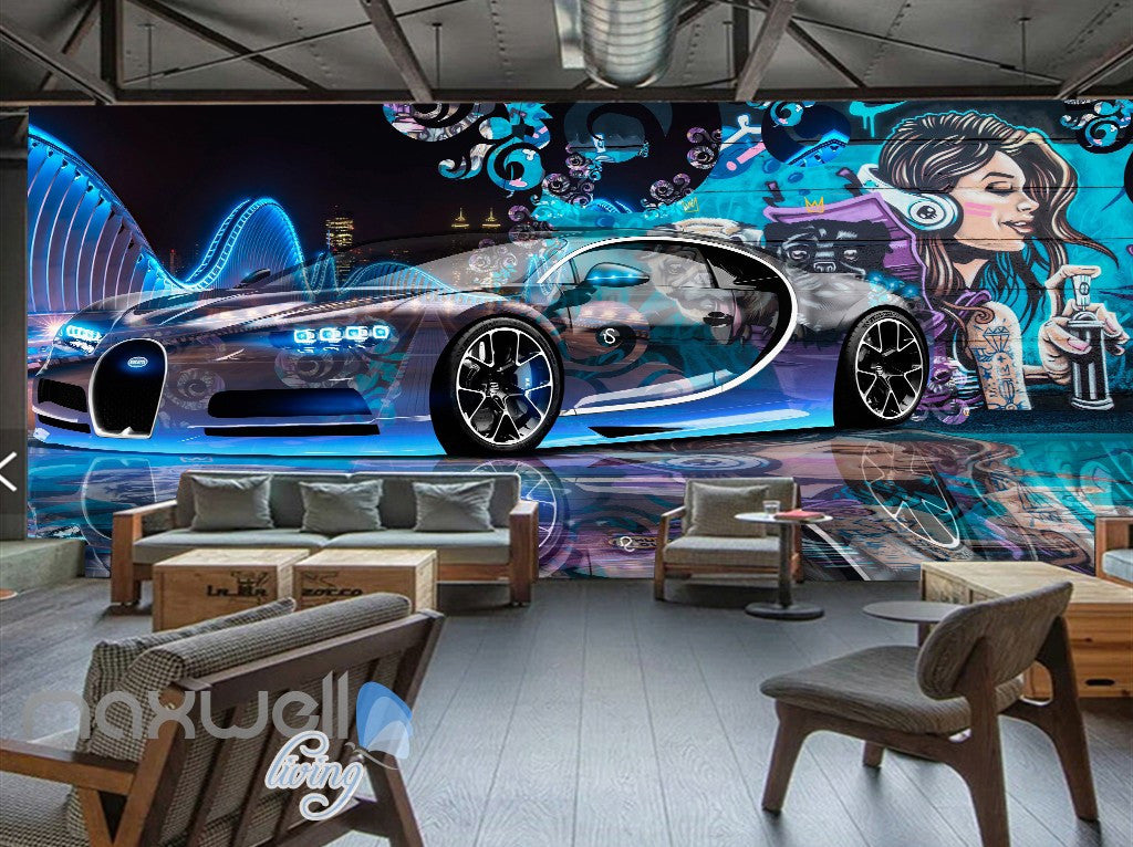 3D Graffiti Racing Car Music Girl Wall Murals Wallpaper Wall Art