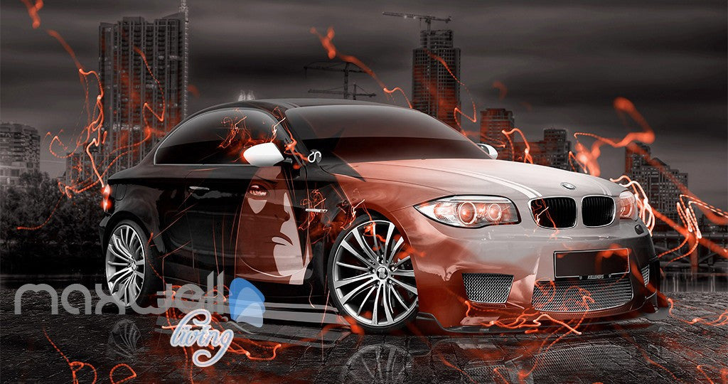 3D Graffiti Racing Car Fire Wall Murals Wallpaper Wall Art Decals