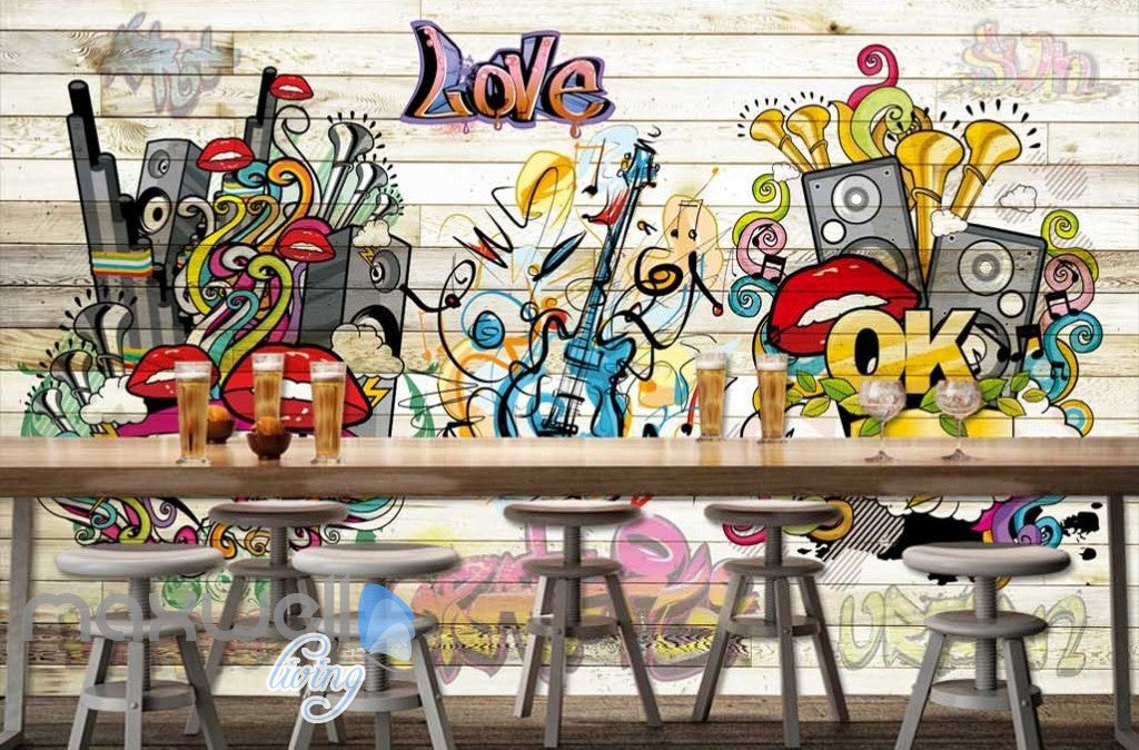 3D Graffiti Board Lips Love Music Wall Murals Wallpaper Wall Art Decals Decor IDCWP-TY-000148