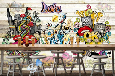 3D Graffiti Board Lips Love Music Wall Murals Wallpaper Wall Art Decals  Decor IDCWP TY