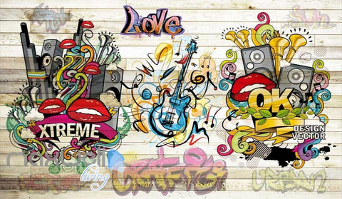 Image of 3D Graffiti Board Lips Love Music Wall Murals Wallpaper Wall Art Decals Decor IDCWP-TY-000148