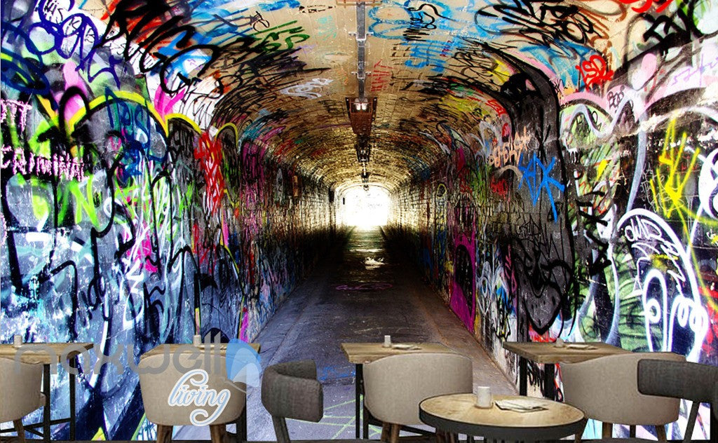 3D Graffiti Long Tunnel Letters Wall Murals Wallpaper Wall Art Prints Decals  IDCWP-TY-000149