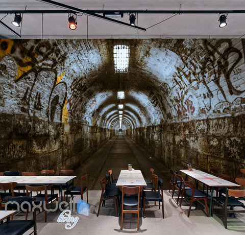 Image of 3D Graffiti Underground Tunnel Long Wall Murals Wallpaper Wall Art Decals Prints IDCWP-TY-000150