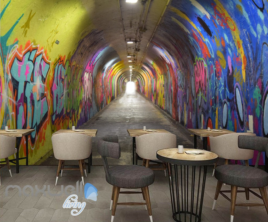 3D Graffiti Tunnel Buniess Office Wall Murals Wallpaper Wall Art Decals  Prints IDCWP TY
