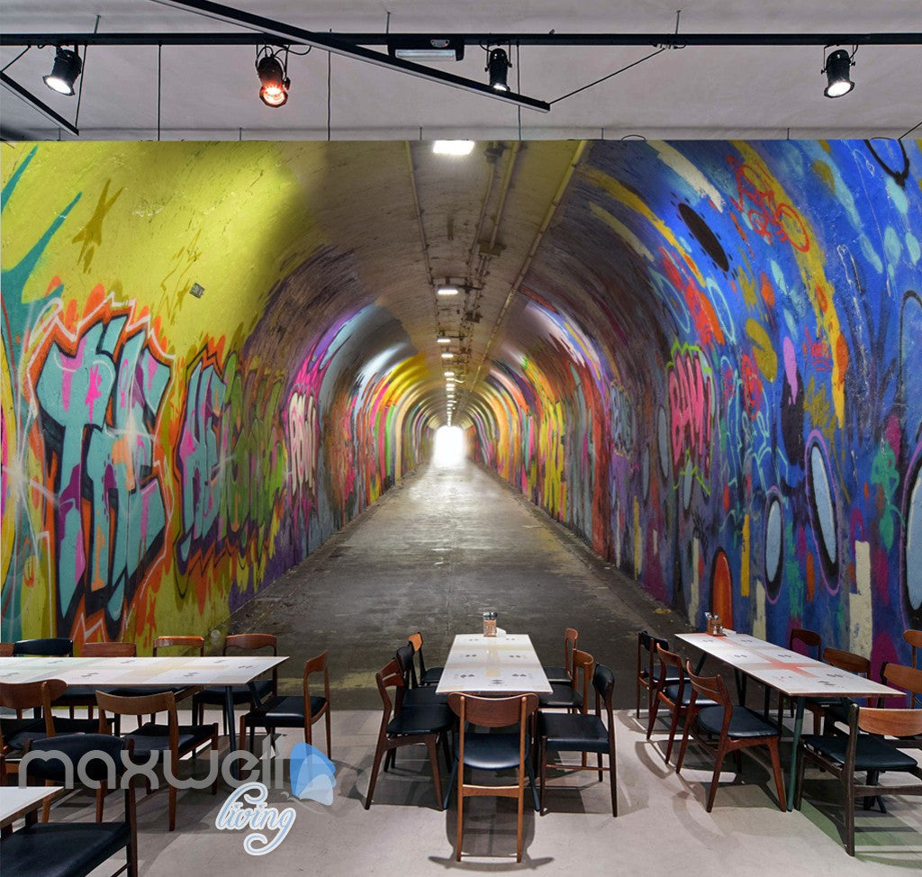 3d Graffiti Tunnel Buniess Office Wall Murals Wallpaper Wall Art