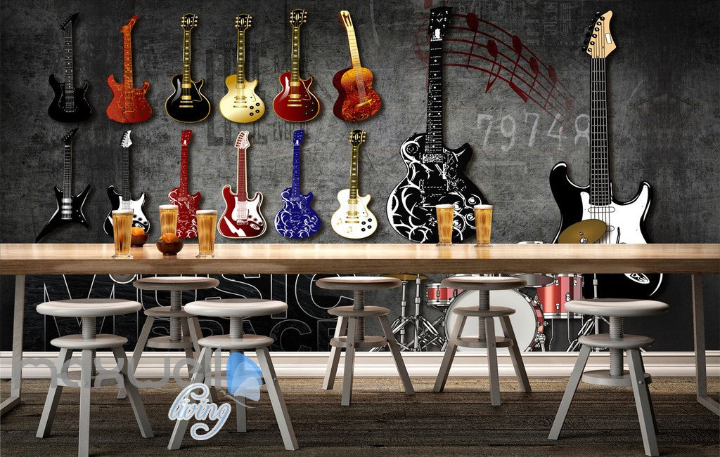 3D Graffiti Drum Guitars Instrument Music Wall Murals Wallpaper Art Decals  Prints IDCWP TY  Part 48