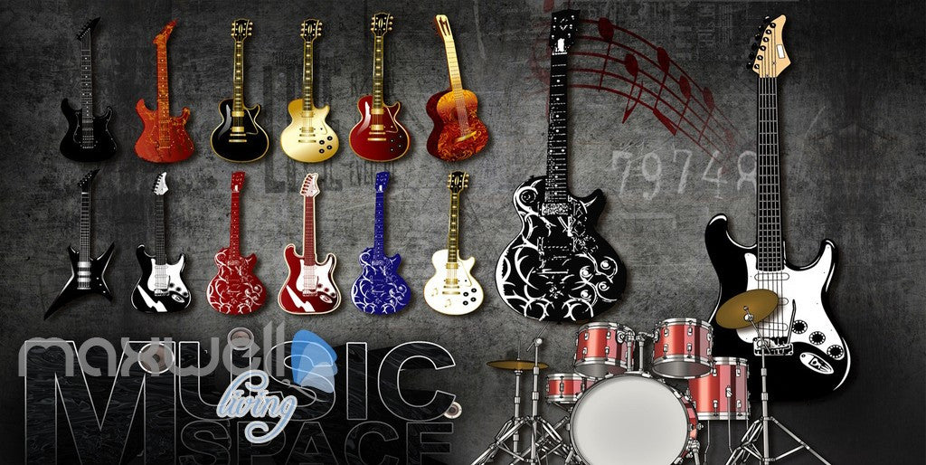 3D Graffiti Drum Guitars Instrument Music Wall Murals Wallpaper Art Decals Prints  IDCWP-TY-000152