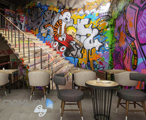 Image of 3D Graffiti Stairs Tiger Letters Wall Murals Wallpaper Art Decals Prints Decor IDCWP-TY-000153