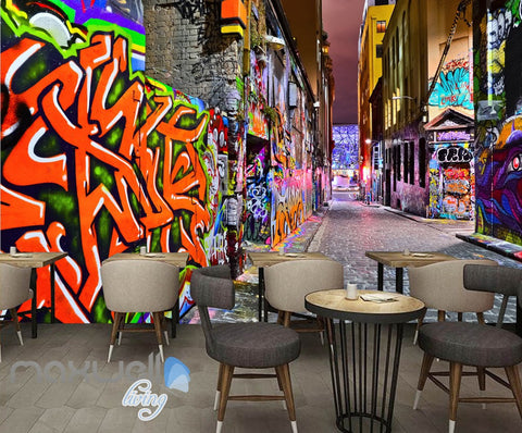Image of 3D Graffiti Coral Letters Art Building Wall Murals Wallpaper Art Decals Prints Decor IDCWP-TY-000155