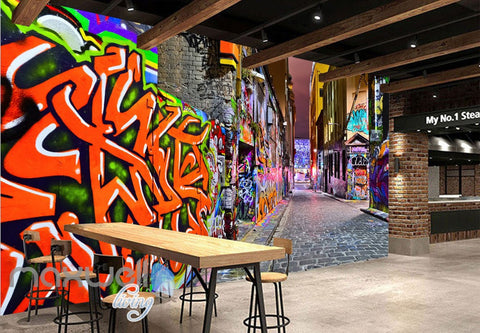 3D Graffiti Coral Letters Art Building Wall Murals Wallpaper Art Decals Prints Decor IDCWP-TY-000155