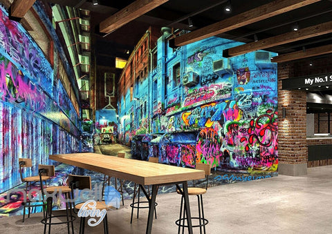 Image of 3D Graffiti Blue Street Night Art Wall Murals Wallpaper Art Decals Print Decor IDCWP-TY-000156