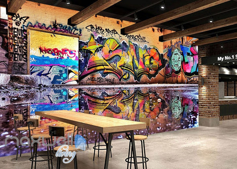 Image of 3D Graffiti Street Puddle Shade Wall Murals Wallpaper Art Decals Prints Decor IDCWP-TY-000157