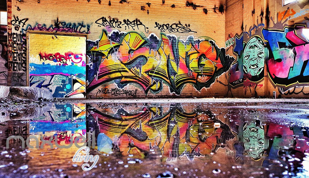 3D Graffiti Street Puddle Shade Wall Murals Wallpaper Art Decals Prints Decor IDCWP-TY-000157