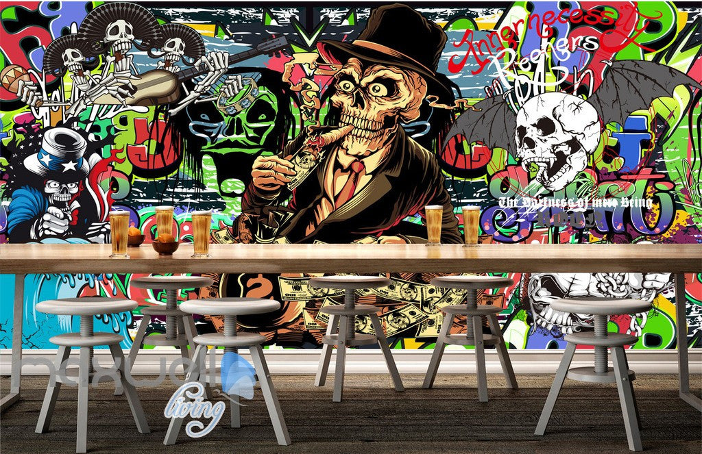 3D Graffiti Mr. Skull Bat Wall Mural Wallpaper Art Decals Prints Decor IDCWP-TY-000158