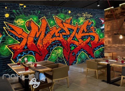 Image of Graffiti Fire Letters Green Blue Wall Murals Wallpaper Art Decals Print Decor IDCWP-TY-000160