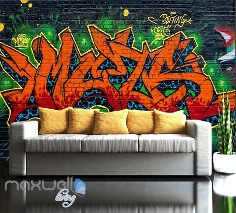 Graffiti Fire Letters Green Blue Wall Murals Wallpaper Art Decals Print Decor IDCWP-TY-000160