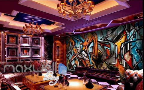 Image of 3D Graffiti Abstract Orange Blue Letter Wall Murals Wallpaper Art Decals Prints  IDCWP-TY-000161